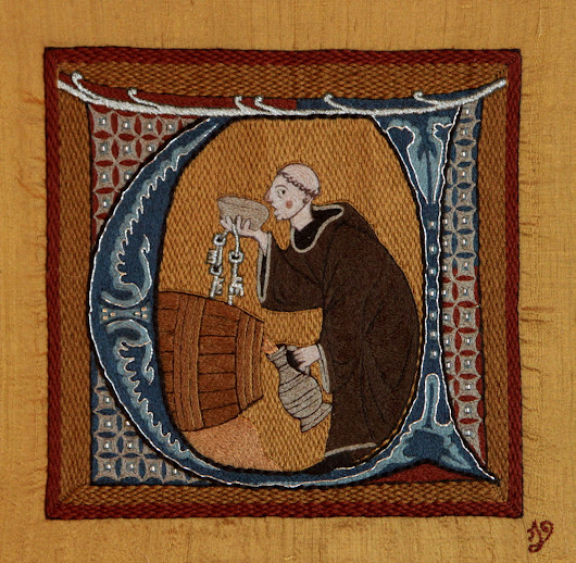 """The Monk"" - an embroidered piece inspired by 13th century illumination"