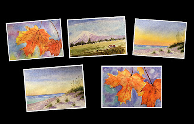 Water colour paintings done by two participants during an art workshop by Manju Panchal