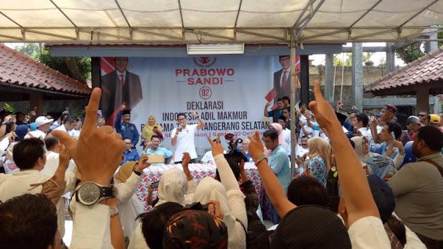 Relawan RI Adil Makmur di Tangsel Deklarasi Dukungan ke Prabowo-Sandi