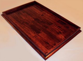 24 X 36 Red Mahogany Stained Ottoman Tray