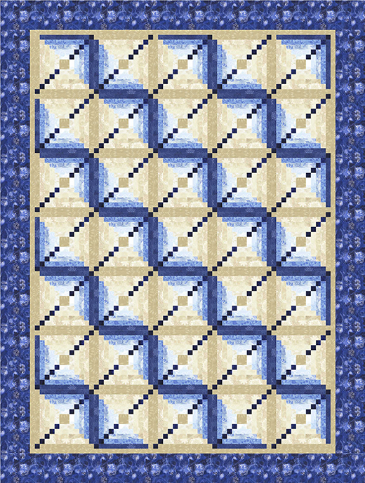 Changing Tides Quilt Free Pattern  Designed by Toby Lischko for Gateway Quilts'n Stuff, featuring Bohemian Blues by Judy and Judel Niemeyer