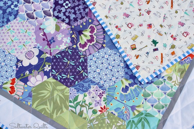 Happy Hexagon Baby Quilt | © Saltwater Quilts 2013
