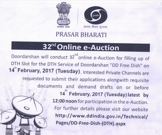DD Freedish conducting 32nd e-Auction for Filling Vacant DTH Slots