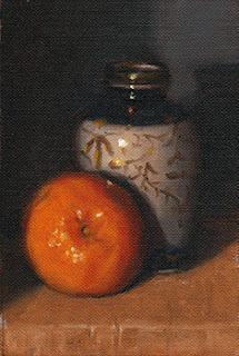 Oil painting of a mandarine beside a small blue and white Chinese-style vase.