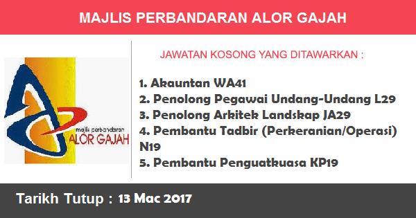 Jawatan Kosong di Majlis Perbandaran Alor Gajah (MPAG)