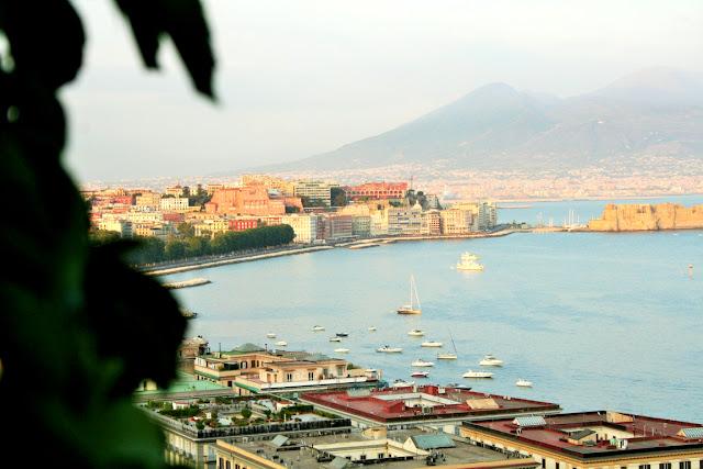 Vesuvio, città, palazzi, albero, mare, acqua