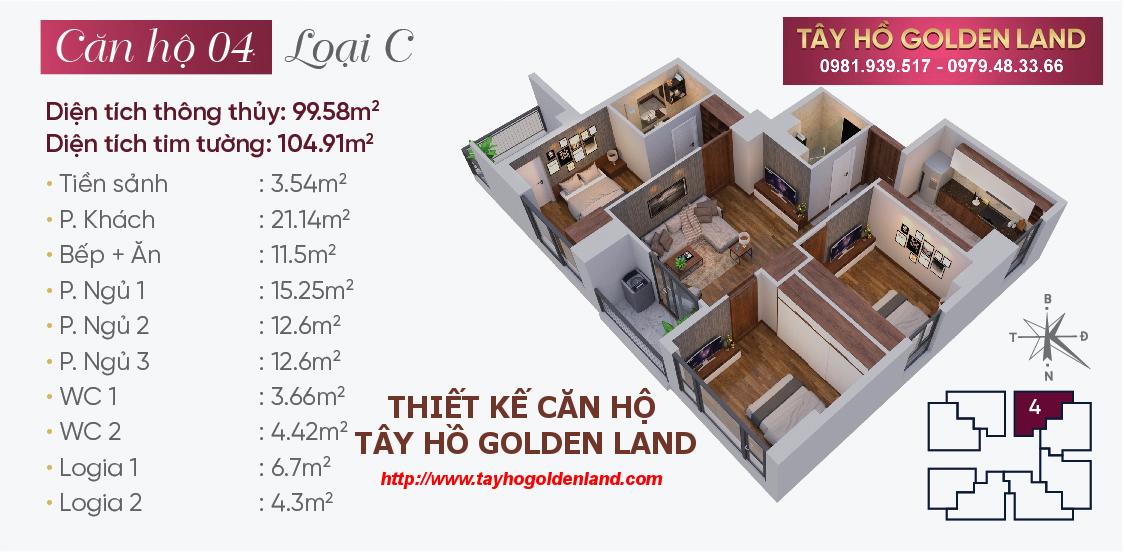 Hình ảnh Thiết kế căn hộ Tây Hồ Golden Land Căn 04 - Loại C
