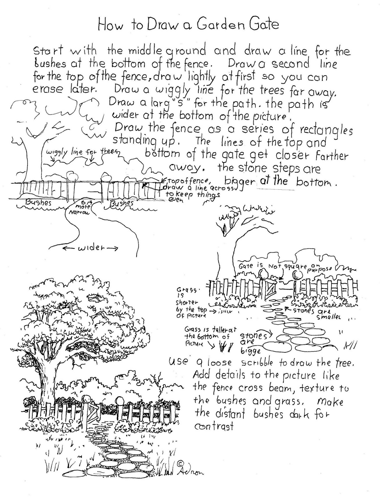 How To Draw Worksheets For The Young Artist How To Draw A Garden Gate Worksheet