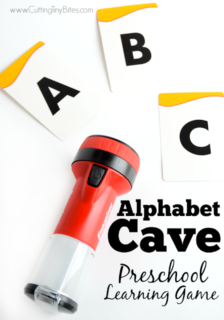 Alphabet Cave- Preschool Learning Game. Fun flashlight hunt game for preschoolers to learn their letters, numbers, or for older children to learn sight words.