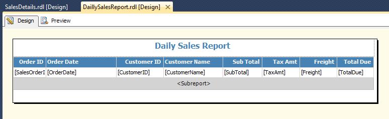 Insert Sub Report
