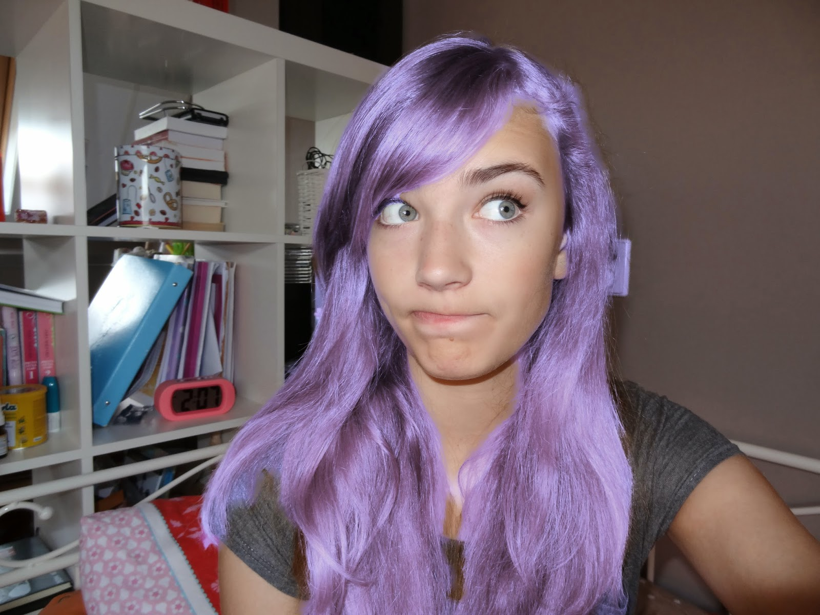 Pastel teal and purple hair