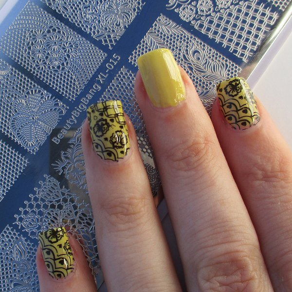 Lace Theme Rectangle Nail Stamping Plate Floral Patterns For ManicureBBXL-015