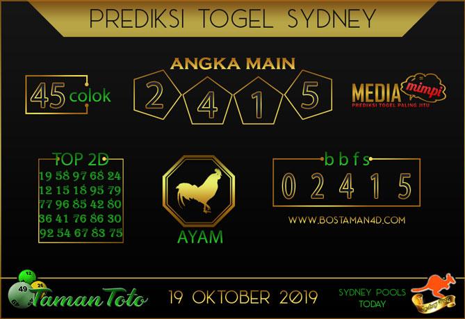 Prediksi Togel SYDNEY TAMAN TOTO 19 OKTOBER 2019