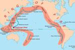 Mapa de localización del denominado 'Cinturón de fuego del Pacífico'