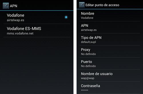 Configuración de APN Vodafone