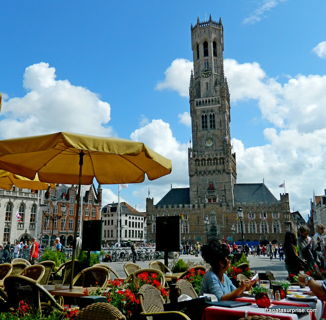 restaurantes no Markt, Praça do Mercado de Bruges