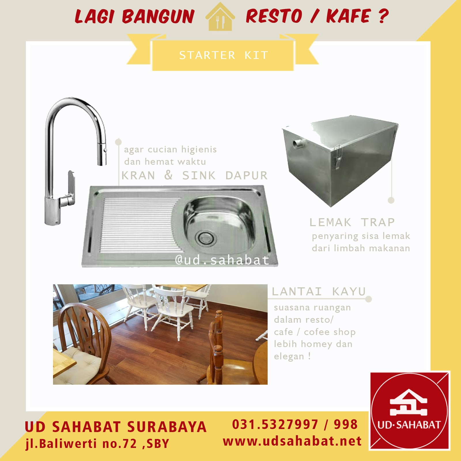 jual kitchen sink resto grease trap UD SAHABAT surabaya