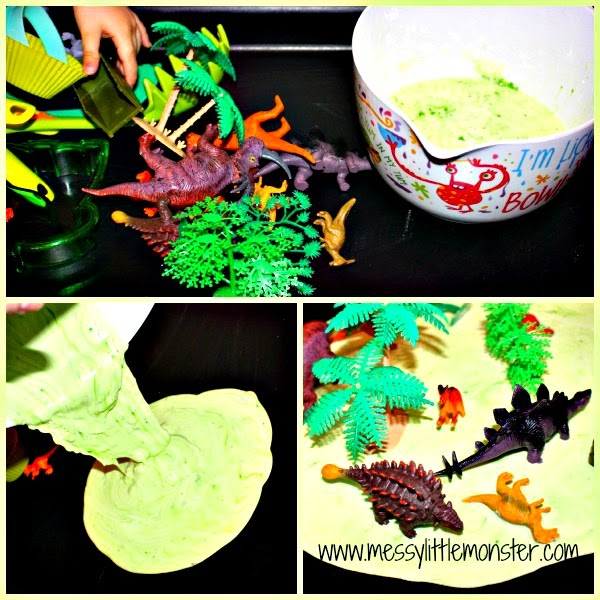 Dinosaur small world sensory play  activity for kids. Make using a gloop (goop, oobleck) recipe.