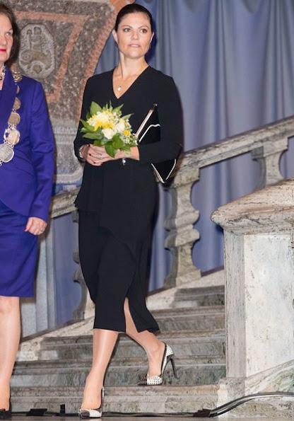 Crown Princess Victoria wore DAGMAR Classic Black Dress and Saint Laurent Paris Pumps