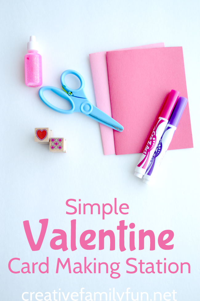 You'll find a list of all the supplies you need to set up a simple Valentine card making station for the kids. Don't worry, you probably already have everything at home!