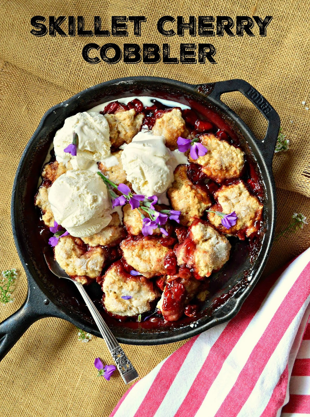 Old Fashioned Skillet Cherry Cobbler is made for cherry lovers. Who doesn't love cherries topped with warm biscuits? And perhaps some ice cream on top? www.thisishowicook.com #cobbler #cherryrecipes #cherries #skilletdesserts