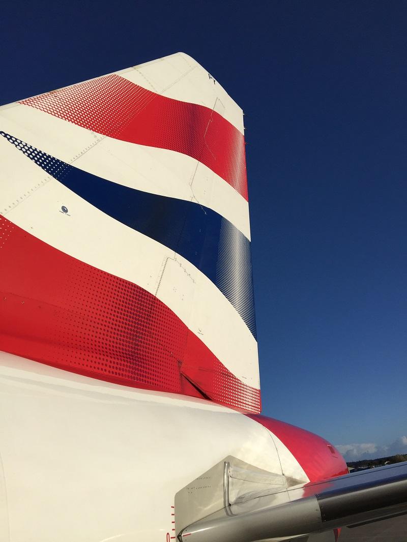 British Airways plane on the runway in Aberdeen