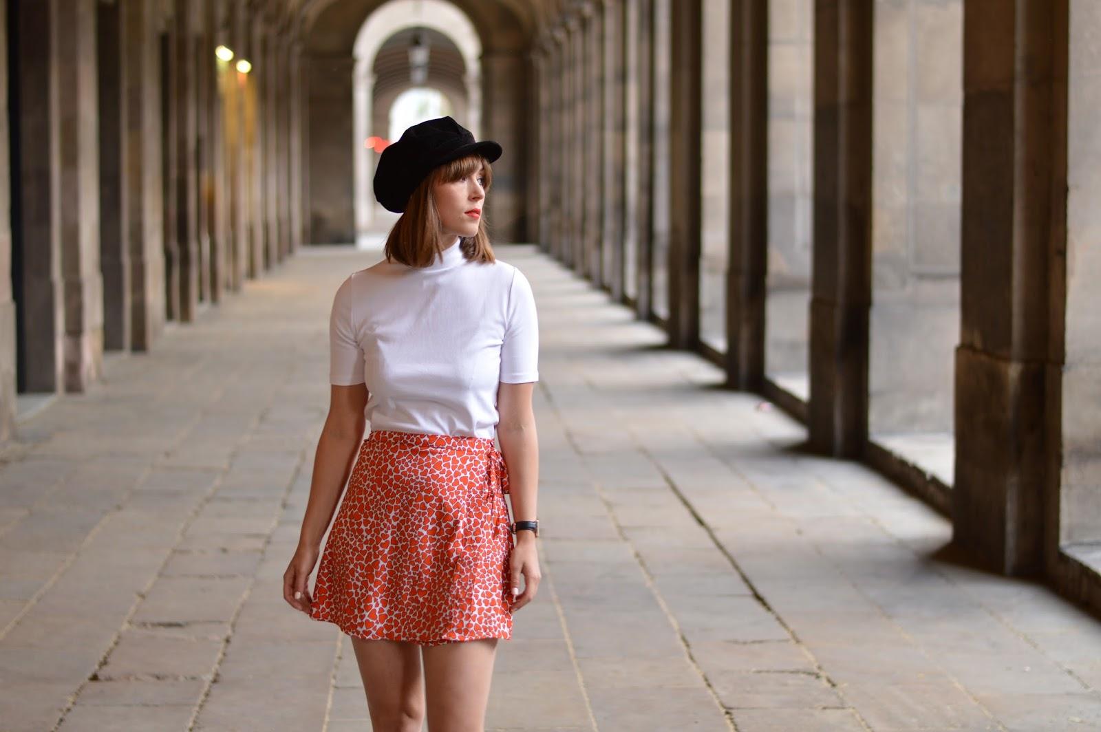 Spring sixties Motel Rocks heart print mini skirt and Topshop polo neck t-shirt