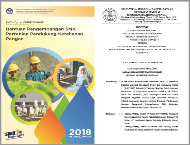 Juklak Bantuan Pengembangan SMK Pertanian Pendukung Ketahanan Pangan Tahun 2018