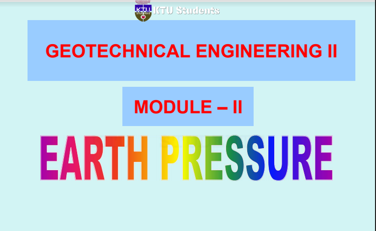 Note for Geotechnical Engineering II CE305 | Module-1 S5