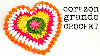 tejer corazon a crochet tejidos patron tutorial gratis free pattern heart valentines san valentin