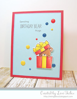 Sending Birthday Bear Hugs card-designed by Lori Tecler/Inking Aloud-stamps and dies from My Favorite Things