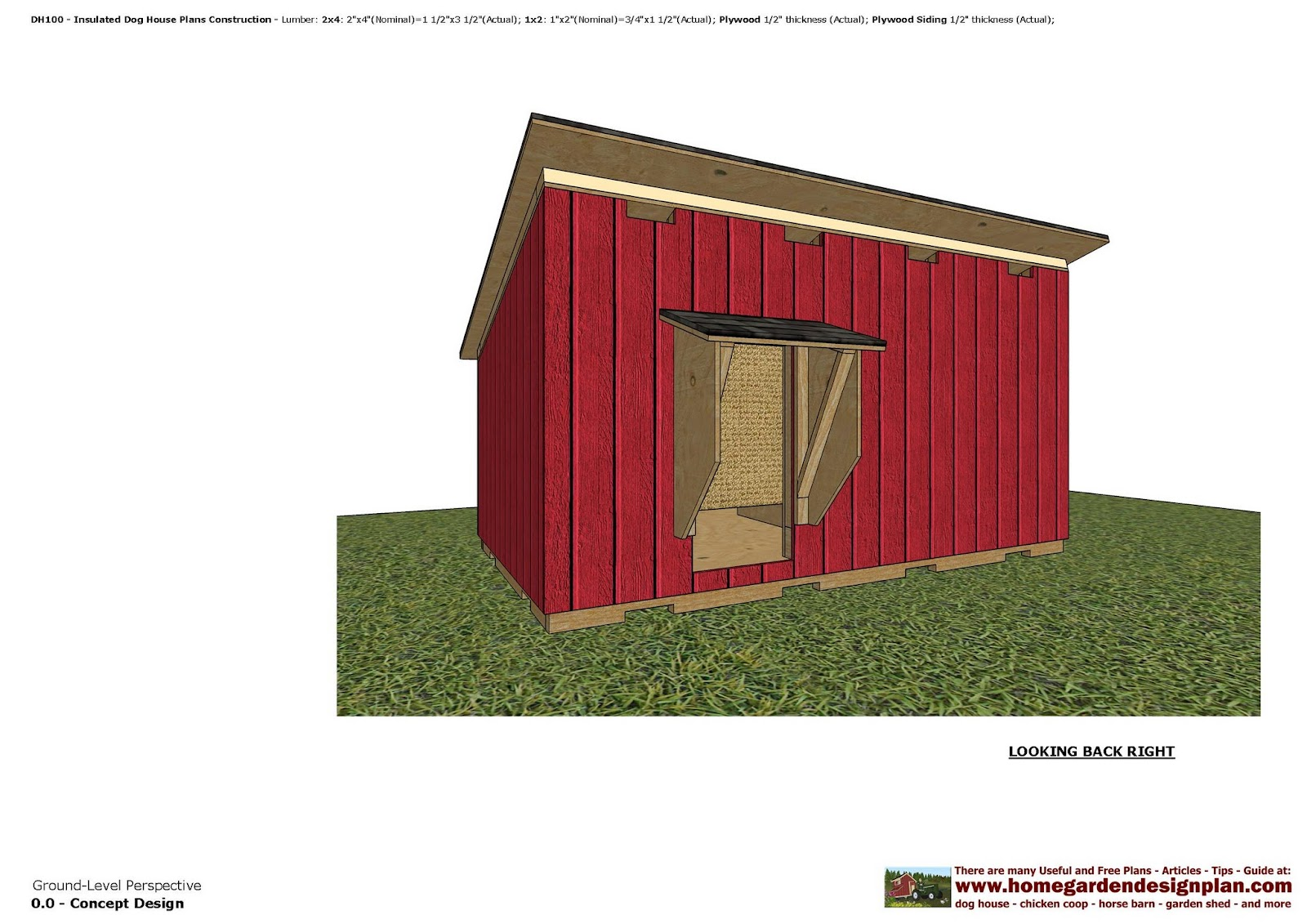 home garden plans: dh100 - insulated dog house plans - dog house