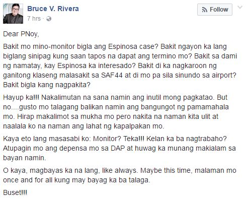 'Hayup ka!!! Nakalimutan na sana namin ang inutil mong pagkatao' Netizen Lambasted Aquino's Concern For Espinosa's Death Case