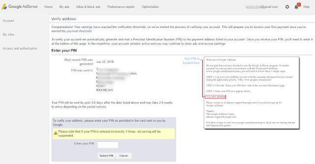 Verifikasi PIN Google Adsense.