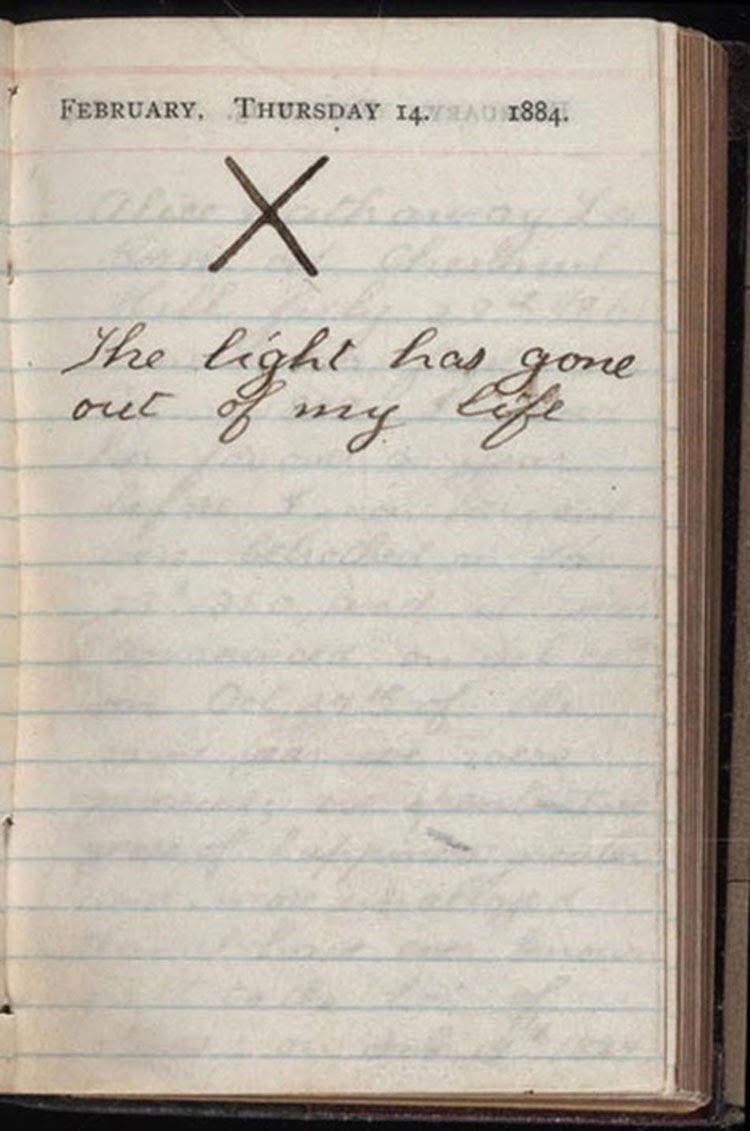 """Theodore Roosevelt simply wrote an """"X"""" above one striking sentence: """"The light has gone out of my life"""", 1884."""
