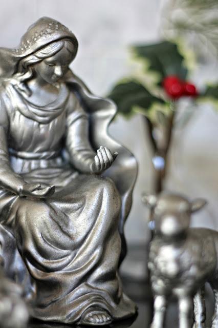 pewter looking nativity set