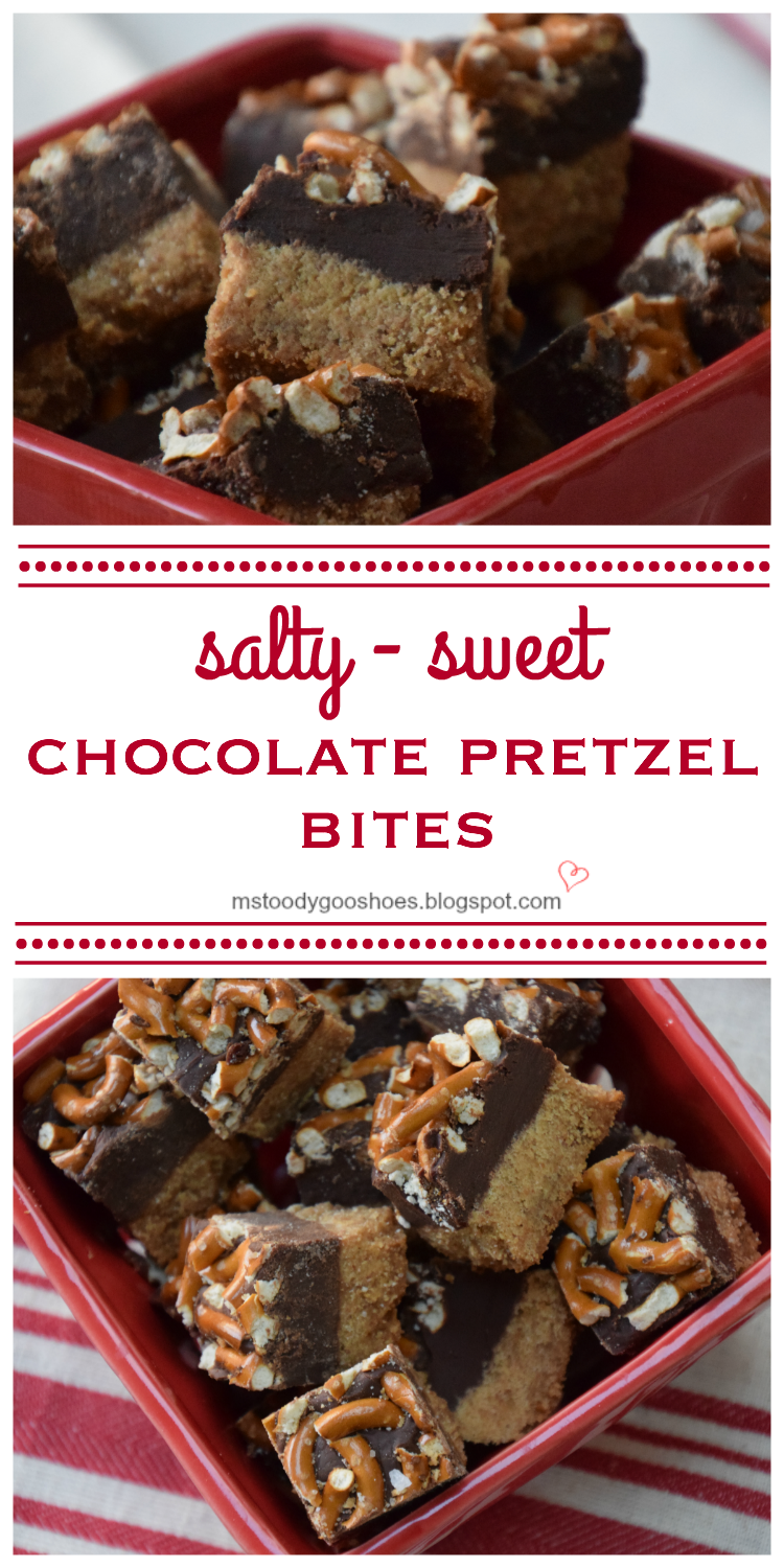 If you like salty and sweet in the same bite, you will LOVE these salty-sweet chocolate pretzel bites! | Ms. Toody Goo Shoes