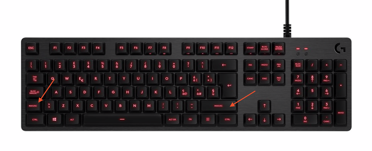 Qual è il tasto maiuscolo (Shift) di Mac su una tastiera Windows