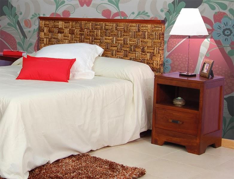 Cabecero madera y abaca, cabezal dormitorio mimbre, cabecero