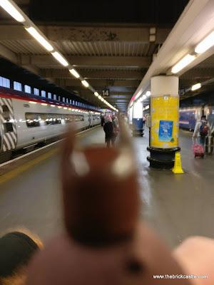 Tartan Batman arrives at Euston Station in London
