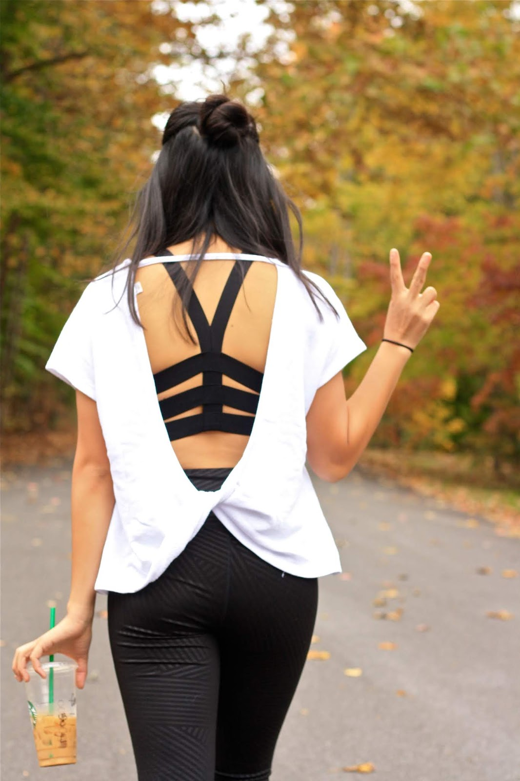 Twisted open back activewear top