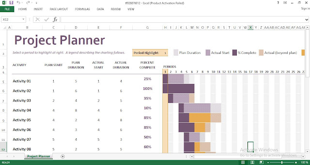 Gantt project planner Excel Template - ENGINEERING MANAGEMENT