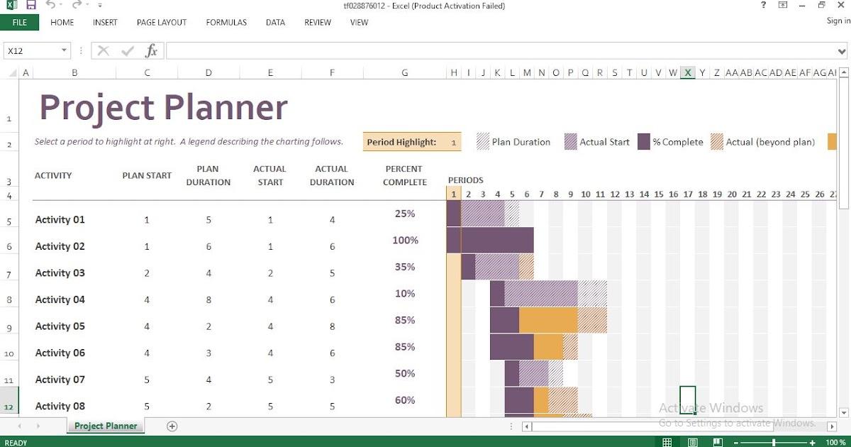 Gantt Project Planner Excel Template Engineering Management