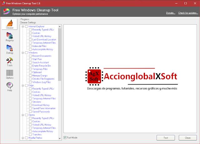 Free Windows Cleanup Tool 2.8 | Colección de herramientas para optimizar el rendimiento de tu PC