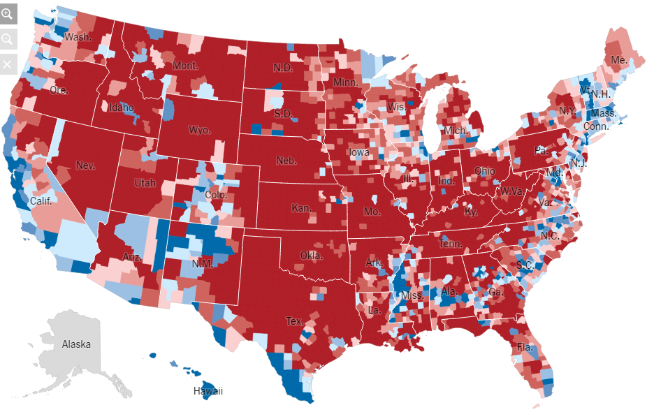 Us County Red Blue Map - Red blue map of us