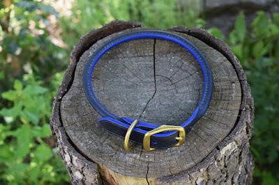 Collare in cuoio tubolare taglia L cucito a mano e fatto su misura