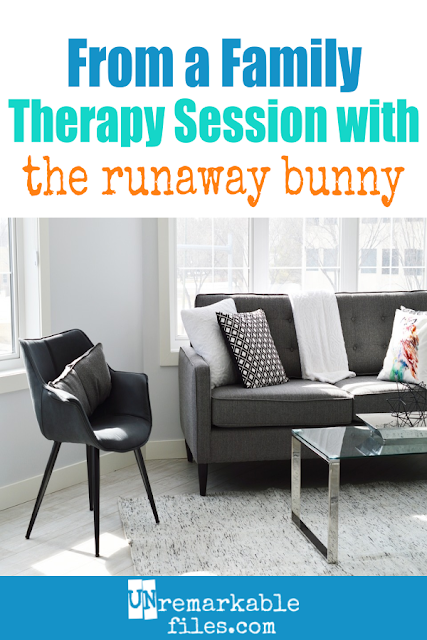Have you always thought that The Runaway Bunny is a weird kids' story? This hilarious parenting humor is for you, then. Both the bunny and his mom need some therapy, and here's what happens in a typical session. #parentinghumor #funny #hilarious #sarcastic #therunawaybunny #unremarkablefiles