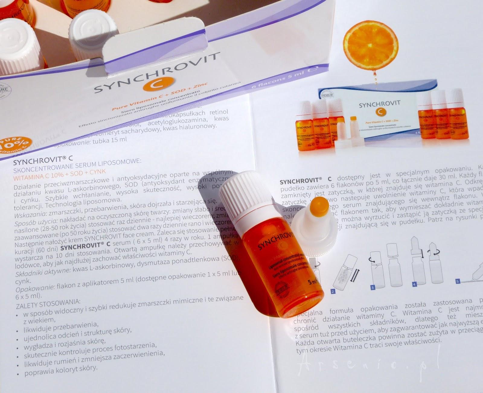 Kosmetyki Synchroline: ultradelikatny płyn micelarny, kuracja z wit. C i kultowa seria Thiospot