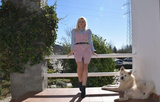 Kinta cane dog akita inu blogger con cani bloggers with dog outfit abito scamiciato rosa abbinamento abito e camicia abito sopra camicia outfit rosa come abbinare il rosa mariafelicia magno fashion blogger colorblock by felym fashion blogger italiane blogger italiane how to wear pink pink outfit