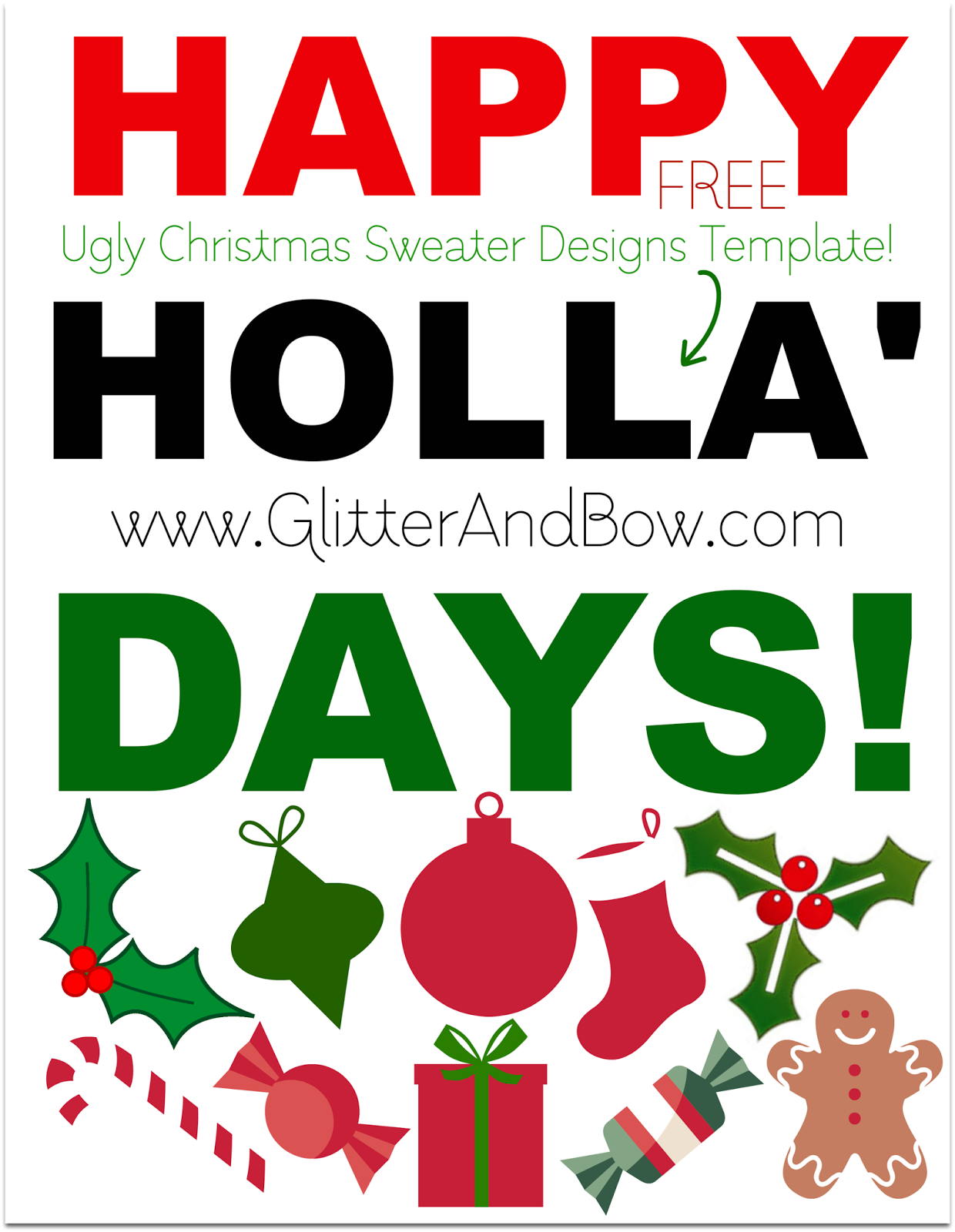 Super Easy Diy Ugly Tacky Christmas Sweater Free Printable Template